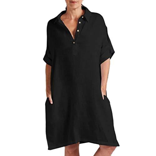 TITIU Damen Plus Size Unregelmäßige Mode Lose Leinen Kurzarm Shirt Vintage Bluse Tank Tee Oberteil Top(X4-Schwarz,S)