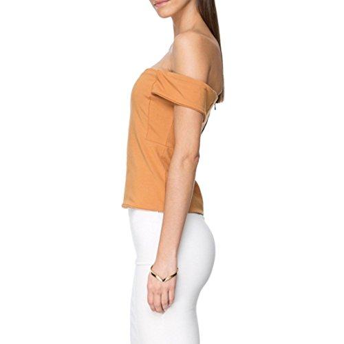 Doux Femmes Encolure Bretelles Tops Fashion Slim T Shirt Tops Shirt Blouse Bronzage leger