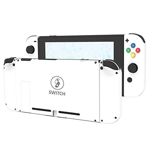 [Update Version] DIY Ersatzgehäuse Shell Case Set für Switch NS NX Konsole und Rechts Links Switch Joy-Con Controller Ohne Elektronik (Weißes Set) Controller Shell