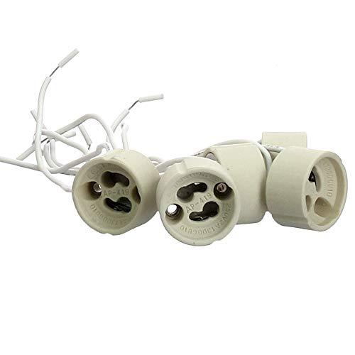 5x Offgridtec® GU10 Lampenfassung DVE und UL listed - Mit isol. Kabelzuleitung - Lampensockel Fassung Sockel für LED Halogen CFL
