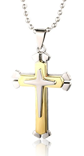 halukakah-just-a-cross-mens-titanium-steel-double-layer-cross-pendant-necklace-gold-with-free-bead-c