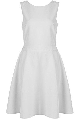 Damen Backless Zurück Strap -Detail Skaterkleid EUR 36-42 Weiß