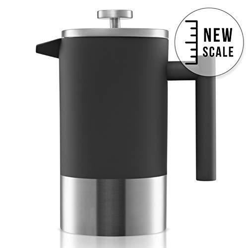 Origeens ☘️ French Press Kaffeebereiter 1L   Isoliert, Edelstahl Doppelwandig, mit Messskala   Kaffeekanne - Teebereiter   Umweltfreundlich & CE-konform