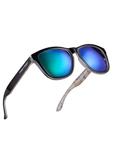 MIAROZ Herren & Damen Sonnenbrillen UV400 CAT 3 Unisex Sonnenbrille, Verspiegelt (Grau) (Grün)
