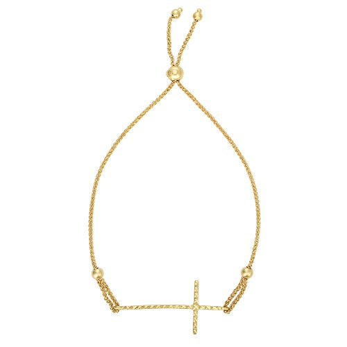 luxurman-friendship-14k-yellow-gold-diamond-cut-15x325mm-curved-cross-element-round-wheat-chain-brac