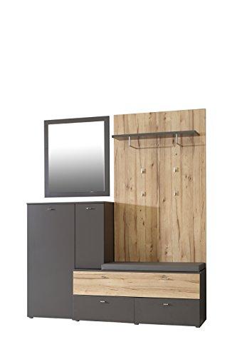 NEWFACE  Garderobe 1 Sitzpolster mit 2 Türen und 3 Schubkästen, Holz, grau + Sandeiche Dekor, 170...