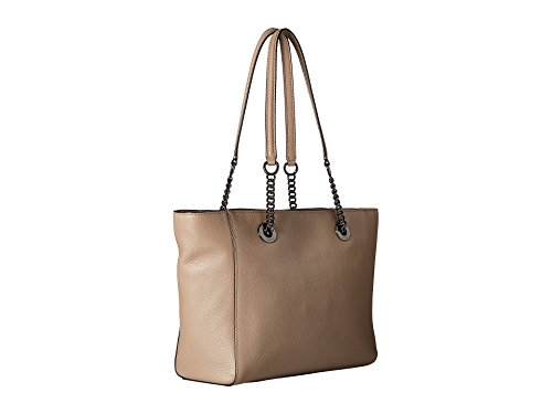 COACH Women's Pebbled Leather Turnlock Chain Tote 27 Dk/Stone Handbag