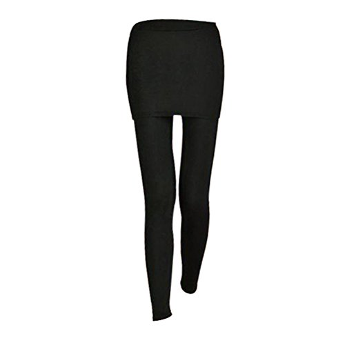 OULII Rock mit Hose 2 in 1 Leggings für Sport Tennis Yoga Jogging (Schwarz) (Hosen-rock)