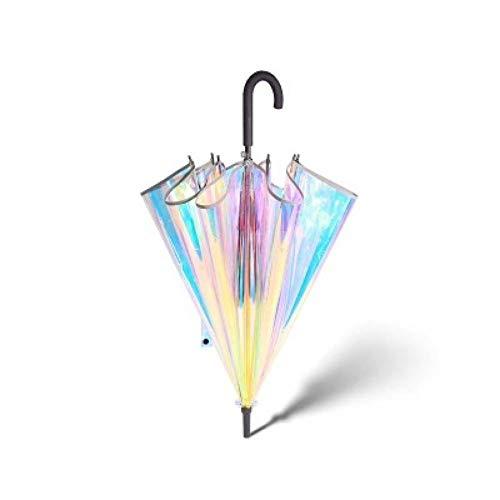 XCWQ Regenschirm Kunststoff Holographische Regenschirm Regen Sonnenschirm Langen Griff Transparenten Regenschirm