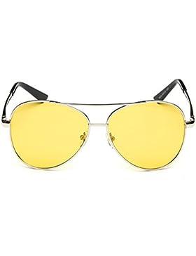 Meijunter Unisex lente amarilla gafas de estilo clásico aviador marco de metal polarizado gafas de sol