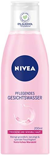 NIVEA Pflegendes Gesichtswasser mit natürlichem Mandelöl für trockene und sensible Haut, 1 x 200 ml Flasche