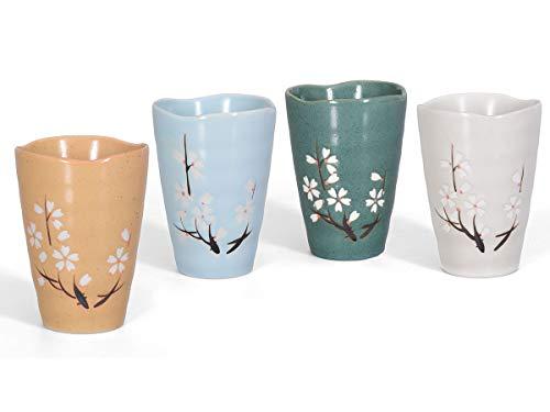 Zekaano Tassen/Teetassen/Becher Set/Teebecher Set 4-teilig Japan Design, Kirschblütenmuster, 300ml bunt/gesprenkelt, handbemalt, Original Aricola®