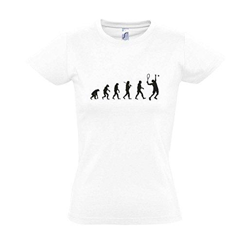 Damen T-Shirt - EVOLUTION - Tennis Sport FUN KULT SHIRT S-XXL , White - schwarz , M