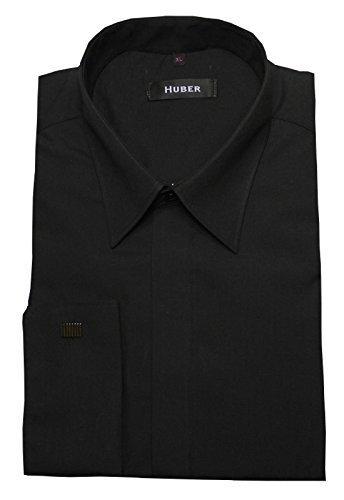 Umschlag Manschetten Hemd schwarz HUBER 0012 bequeme Passform S bis 6XL Schwarz