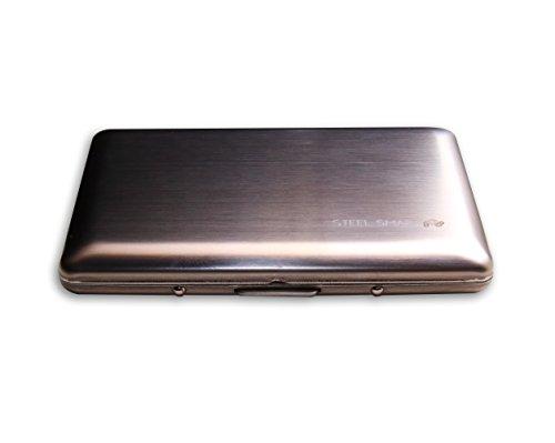 Dünnes & edles Kreditkartenetui aus gebürstetem Edelstahl mit RFID-Blocker (Datenschutz) - modernes Design mit abgerundeten Ecken - Metall Kartenhalter Portemonnaie für Damen & Herren