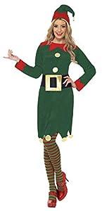 Smiffys-31995L Elf Disfraz de elfa, con Vestido, Gorro y cinturón, Color Verde, L-EU Tamaño 44-46 (Smiffy