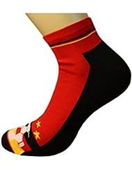 Weri Spezials Femmes et Hommes Football Chaussettes-Sniakers Noir/Rouge/Or