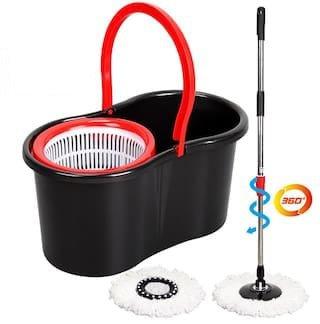 FRX Spin Mop 360° Platinum Wischmop Set Wisch Mop + Eimer+ Mopstange Wischer Aufnehmer Bodenpfleger Bodenreiniger Reinigungssystem Twist Mop Clean Set Wischsystem Schleuder Reiniger Bodenpflege (Rot)