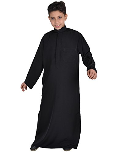 Arabische Kinder Kostüm Saudi - Kinder-Kaftan,Thobe im Saudi-Style, Farbe: schwarz, KK00117 (140)