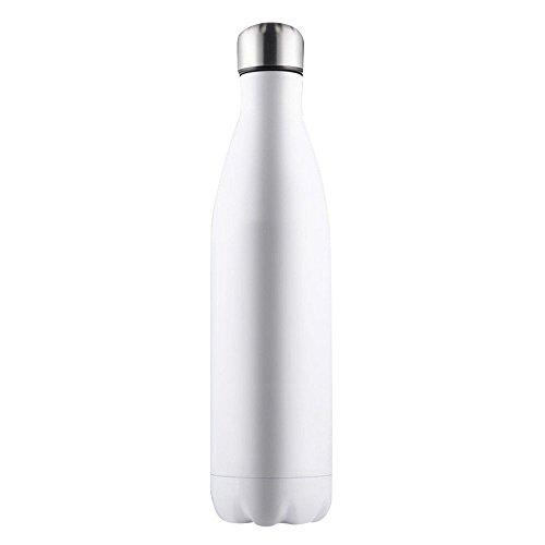 er Insulated Edelstahl Wasser Vacuum Flasche Flask für Laufen, Gym, Yoga, Radfahren, Wandern, Yoga, Outdoor und Camping (Weiß, 500ml) ()