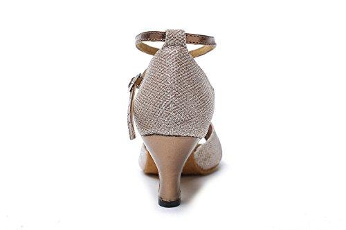 MINITOO GL193B Donna Nodo Raso Sintetico Latina Professionale Scarpe da Ballo Matrimonio Sera Sandali HK TIANHE TIMES Danza Scarpe da danza da donna
