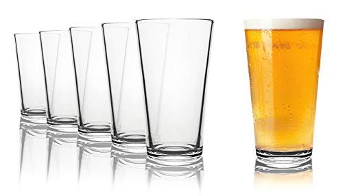 Tivoli Liverpool Biergläser - Spülmaschinenfest - 6 -Teiliges Set - 490 ml - Alle Glaeser Sind aus Einem Stück geblasen und Haben den beruhtem polierten Mundrand.
