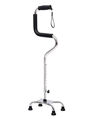 EGCLJ Älterer Spazierstock - Quad Cane - Rutschfeste Vierbein-Krücken - Aluminium-Reisehilfe - 4 Spitzen - Behinderte, Ältere Menschen - 220-Pfund-Kapazität (Farbe : Silber) - Cane Quad Faltbare