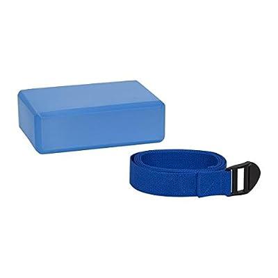 Yoga Set, Matte, Block, Gurt, Pilates, Gymnastik, Fitness, Sport, blau, 2-tlg