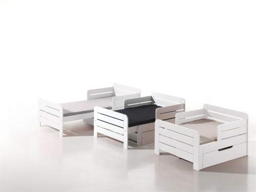 Vipack JPBE9014 Kinderbett Jumper ausziehbar, 140-200 cm, Circa 99 x 66 x 145/202 cm, weiß lackiert