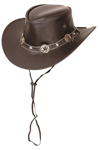 Scippis Concho Lederhut Classic Cowboyhut Australienhut (M/56-57 - braun) -