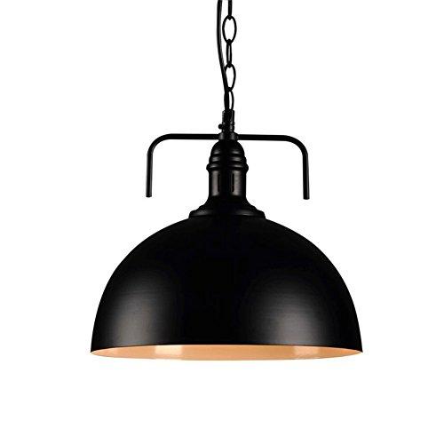 QINAIDI Glas Eisen Hängende Anhänger Kronleuchter Industrielle Fan Deckel Große Kaliber Cafe Light Retro-Stil Kreative Restaurant Kronleuchter,Black (Glas-decke-anhänger)