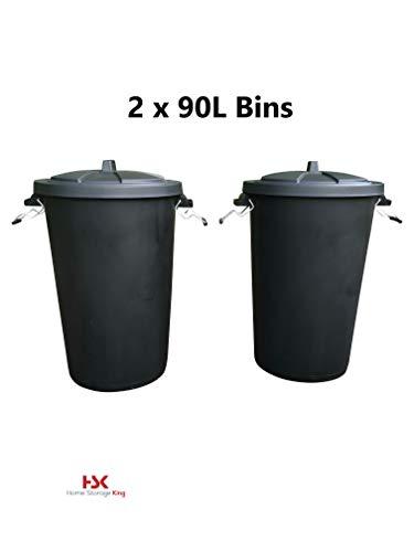 Home Storage King - Cubo de Basura de plástico 85 L, con Tapa de Bloqueo, 2 Unidades, Color Negro