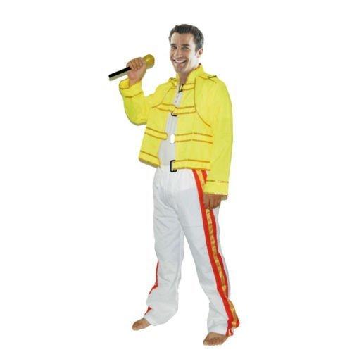 Kostüm Wembley Rock Star Herren Freddy Kostüm Outfit (Freddy Mercury Kostüm)