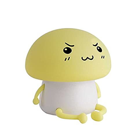 Bababy Lampe de chevet Portable LED USB Chargeur Port Soft Silicone Color Shampooing Shape Night Light jaune