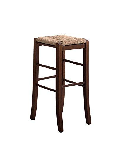 Sedia sgabello legno massello con seduta paglia quadrato h 67 cm da terra nuovo già montato tinta noce scuro