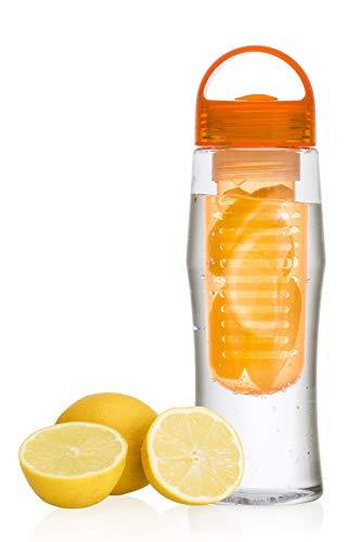 Vinsani Obst-Wasser-Flasche, für Wasser-Obst-Mischgetränke, 7Farben erhältlich, Orange -