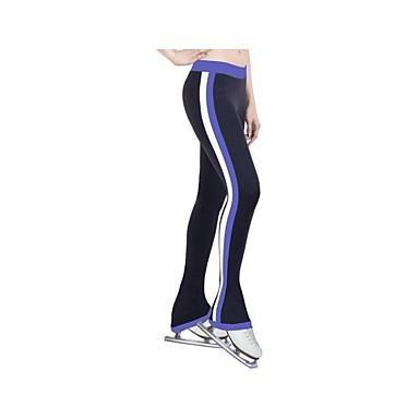 LZZNA Über die Schlittschuhe reichende Strumpfhosen fürs Eiskunstlaufen Damen Mädchen Eiskunstlaufkleider Gelb Rot Blau Dehnbar Streifen, Blue, 150