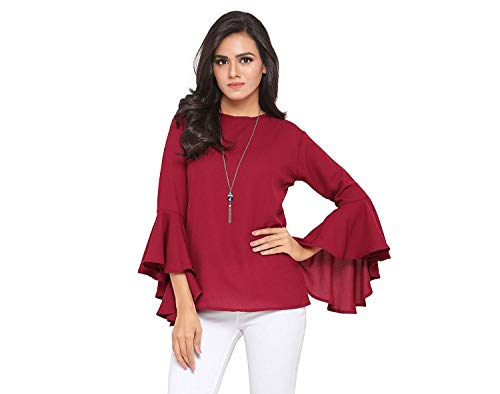 Istyle Can Harrpy Women's Top (Green Crepe top with Flute Sleeves) (Maroon, Medium)