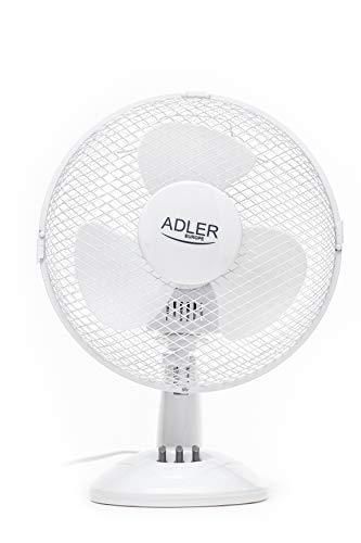 Adler AD 7302 Ventilador Portatil de Escritorio, Giratorio, 60W, 2 Velocidades, 35 W, 35.6 Decibeles...