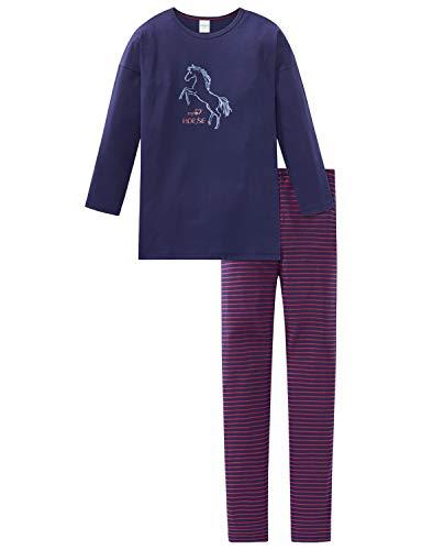 Schiesser Mädchen Pferdewelt Md Anzug lang Zweiteiliger Schlafanzug, Blau (Dunkelblau 803), (Herstellergröße: 128)
