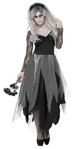 Fancy Kostüm Gothic Dress Halloween Braut - Smiffys 43729X1 - Friedhof Braut Kostüm mit Dress und Rose Veil