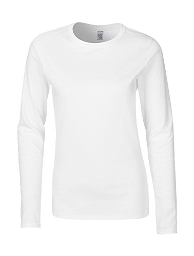 Gildan Ladies' Long Sleeve T-Shirt Tailliert White