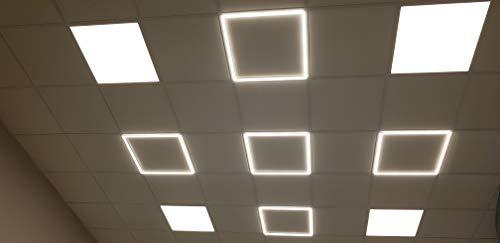 0W 62x62cm Deckenleuchte mit Rahmen Beleuchtung Neutralweiß 4000K 3400lm Ultraslim (11mm) Deckenpanel Decken-Lampe inkl. Trafo ()