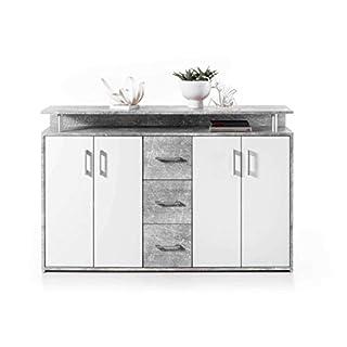 Avanti Trendstore - Doro - Kommode mit 1 offenen Ablage, 3 Schubladen und 4 Türen aus weißem Holzdekor, Korpus in 2 erhältlich, Maße: BHT 139x90x34 cm