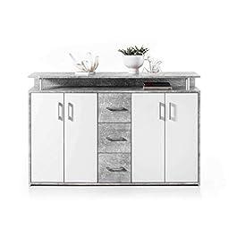 AVANTI TRENDSTORE – Doro – Comó con 1 ripiano Aperto, 3 cassetti e 4 Ante, Disponibile in 2 Diversi Colori, Dimensioni: Lap 139x90x34 cm (Grigio-Bianco)