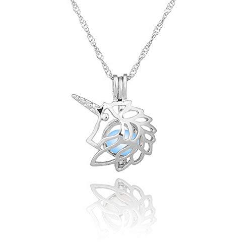 chen Kette Nachtleuchtende Starss Halskette Anhänger mit Leuchtend Stein Silber Farbe Wehnachten ()