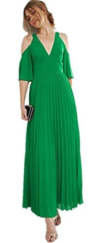 Moda con scollo profondo spalle scoperte Chiffon Maniche a Campana manica a 3/4 a pieghe Skater A-Line Linea Ad A Svasato Long Lungo Lunghe Maxi Vestito Abito verde Verde