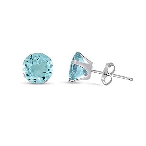8MM Classic Brilliant Round Cut CZ Sterling Silver Stud Earrings-AQUAMARINE BLUE or Choose From 13 Colours. 8-AQUA