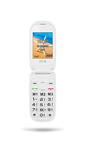 SPC Harmony - Teléfono móvil (Dual SIM, Números y letras grandes, 3 memorias directas, 5 números SOS, cámara de fotos), Blanco