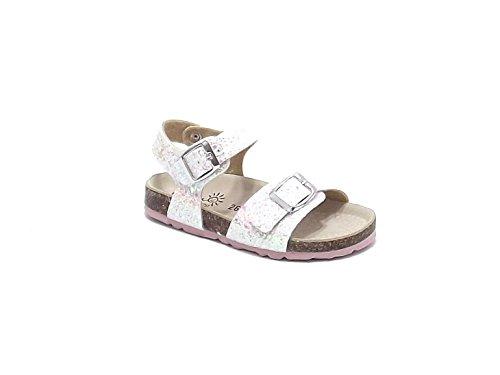 Scarpe Bambina ragazza, sandalo EB 80 in pelle glitterato, colore bianco